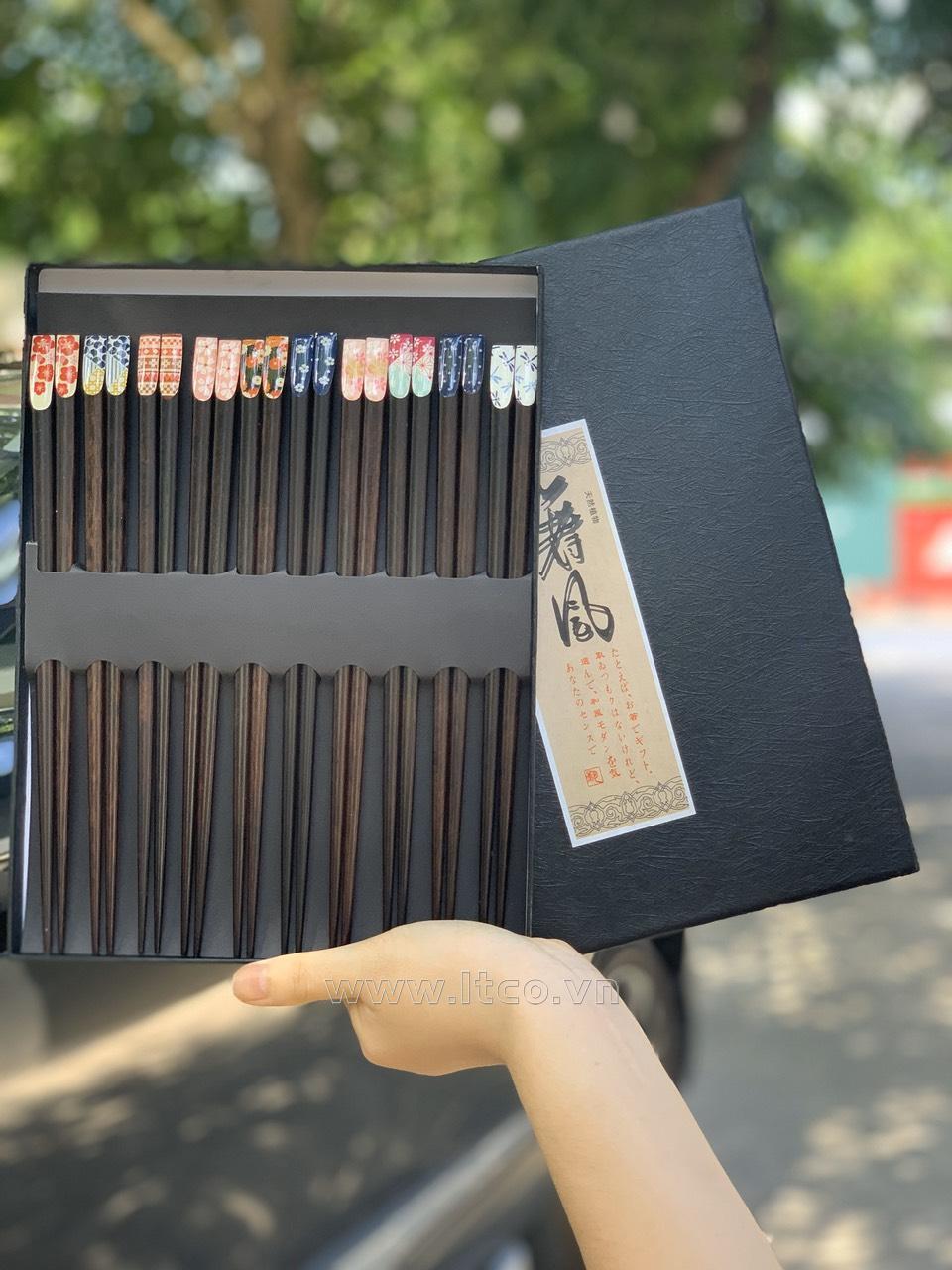 Set 10 đôi đũa mun gỗ Nhật Bản - Hộp đen