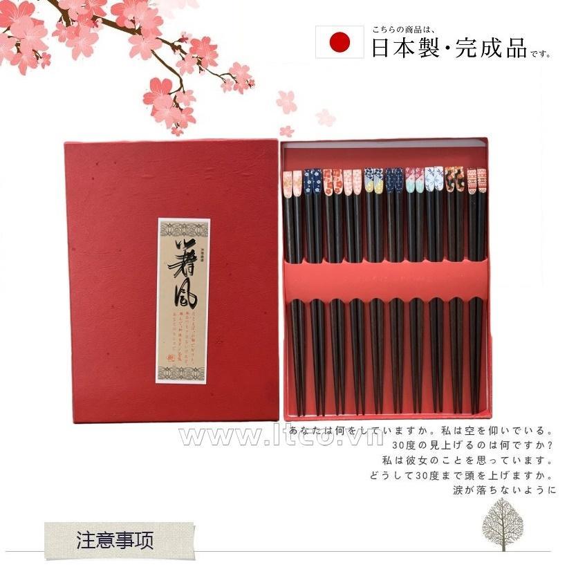 Set 10 đôi đũa gỗ mun Nhật Bản - Hộp đỏ