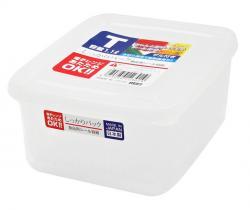 Hộp thực phẩm vuông có giá lót, nắp mềm 1100ml_A